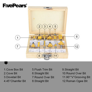 Image 5 - FivePears 8mm Shank 12pcs Router Bits Set Professional Woodworking Tungsten Carbide Milling cutter With Wood Storage Box