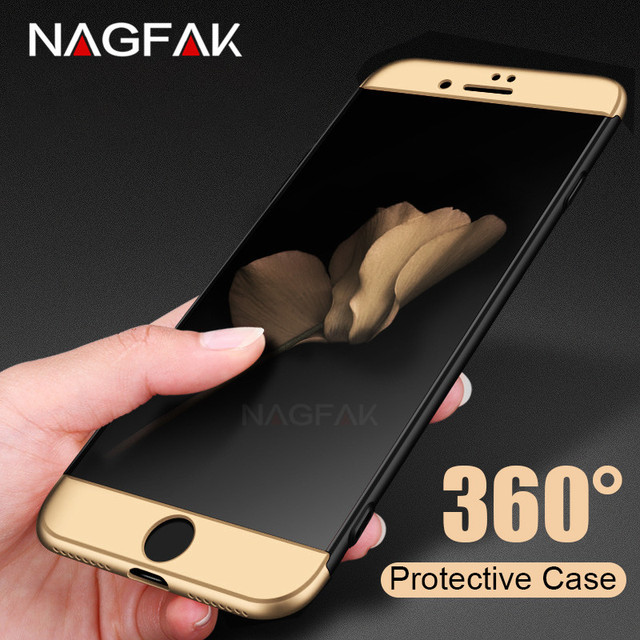 NAGFAK Luxury 360 Protective Case For iPhone 7 6 6s 8 Plus Full Hard PC Phone Case For iPhone 8 6s 7 Plus 5S SE Shockproof Case