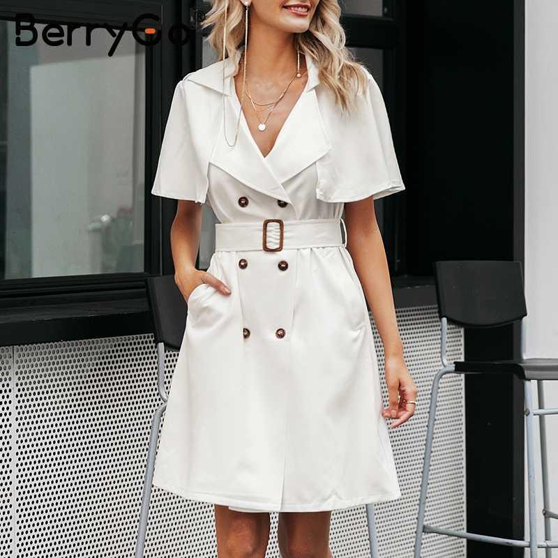 BerryGo Элегантный платье V-образны кнопкa рукавом  платье V-образны кнопки с рюшами рукав женское платье Элегантный пояс пофис дамы траншеи плать  платье