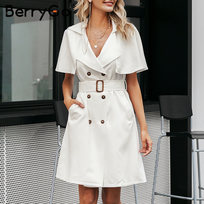 Image 2 - BerryGo White buttons women blazer dress Elegant ruffled sleeve  sash belt office ladies trench dress V neck shawl party  vestidosDresses