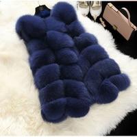 2019 New Faux Fox Fur Vest Winter Jacket Women Casaco Feminino Fashion Faux Fur Coat Winter Women Casual Slim Sleeveless