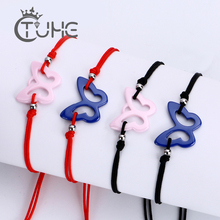 2pcs/lot Red Rope Lucky Ceramic Bracelets Black String Adjustable Bangle For Women Men Handmade Accessories Lovers Jewelry
