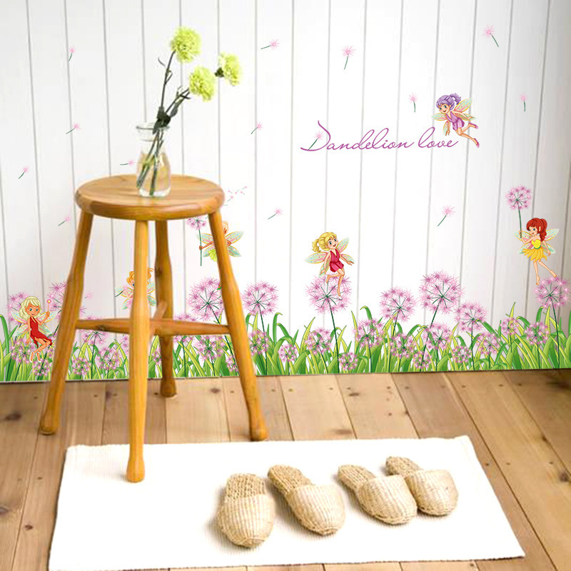 Remarkable Us 3 88 17 Off Purple Dandelion Green Grass Cute Small Elf Fairy Baseboard Wall Stickers Skirting Living Room Kitchen Bathroom Glass Home Decor In Caraccident5 Cool Chair Designs And Ideas Caraccident5Info