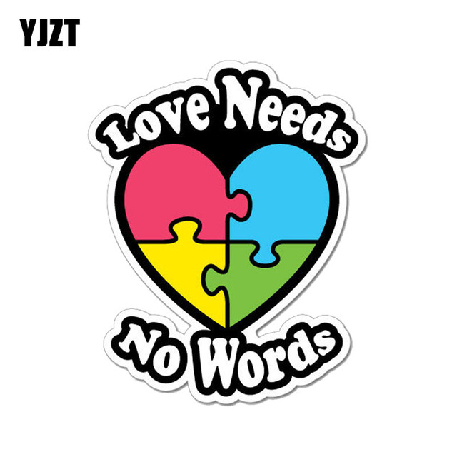 22c4ea08406 YJZT 10.1CM*12.7CM Autism Heart Love Needs No Words PVC Motorcycle Car  Sticker