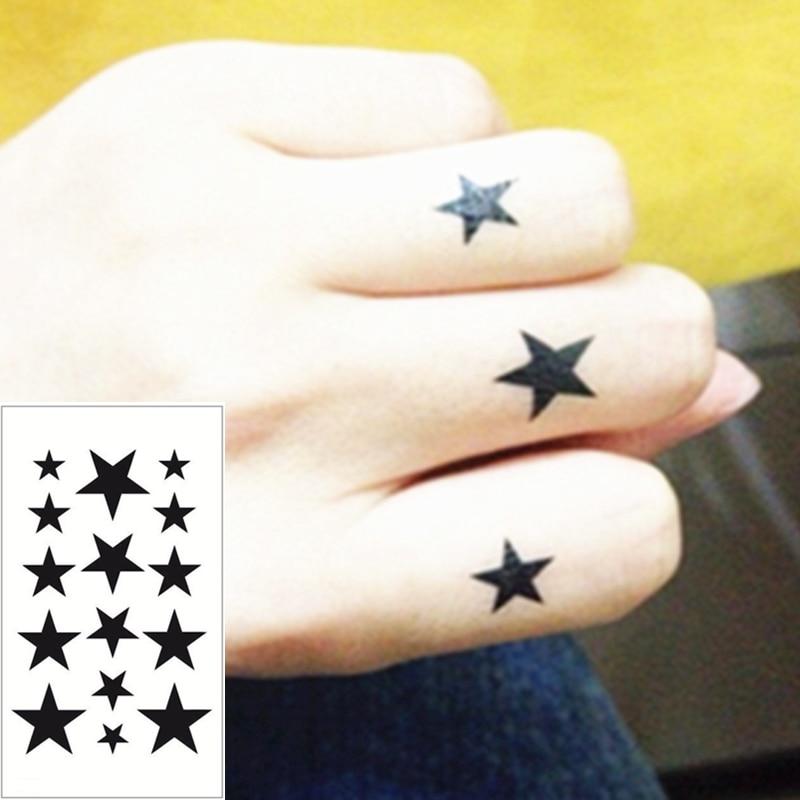 buy 25 style mini temporary tattoo body art black star designs flash tattoo. Black Bedroom Furniture Sets. Home Design Ideas
