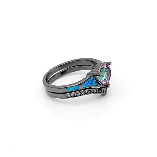 Фото женские кольца с опалом в форме сердца 2 шт винтажные ювелирные