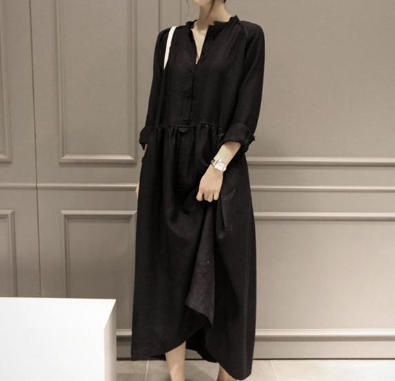 SCUWLINEN 2018 Spring Autumn Fairy Linen Dress Plus Size Long ...
