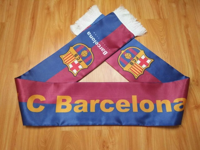FC Barcelona football team Barca Custom Fashionable fan Scarf flag Men Football Club Sport  Fan Scarves Neckerchief Double side