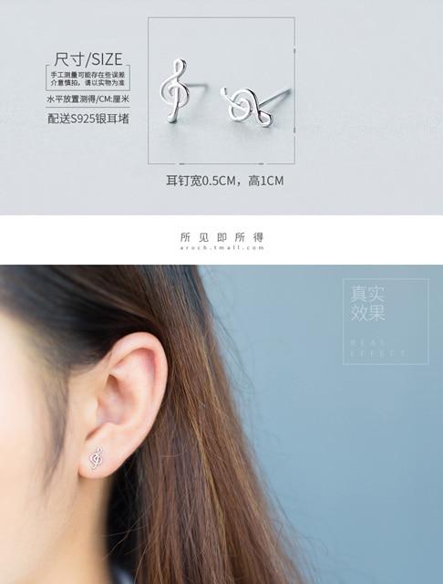 Trusta 925 Sterling Silver Tiny Treble Clef Earrings (10)