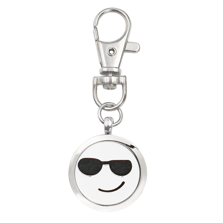 More options Aroma Key Chain Locket with smiling face cool keychain Perfume Diffuser with Lobster clasp Key ring With 5 Pads