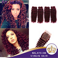 Deep Wave Malaysian Hair 5pcs lot Kinky Curly Weave Human Hair Bundles #99j Remy Human Hair Extensions 4 Bundles With Closure