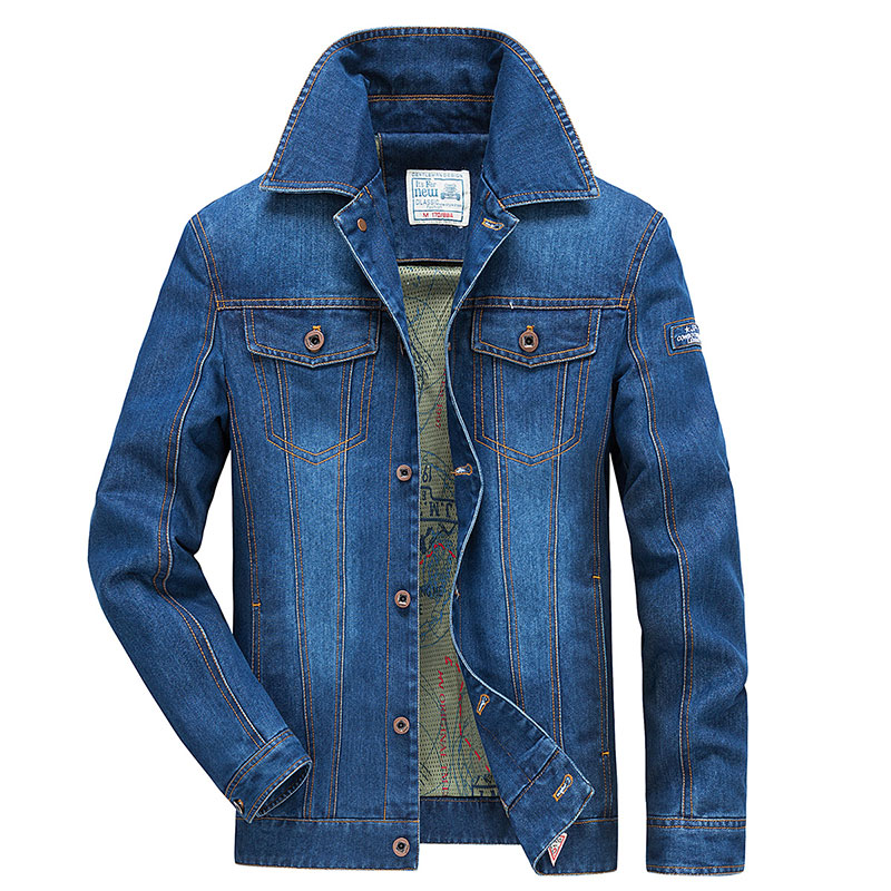 2017 ropa de hombres ropa chaqueta Retro M ~ 4XL abrigo Slim Fit Casual azul abrigos chaqueta de manga larga bolsillo de moda