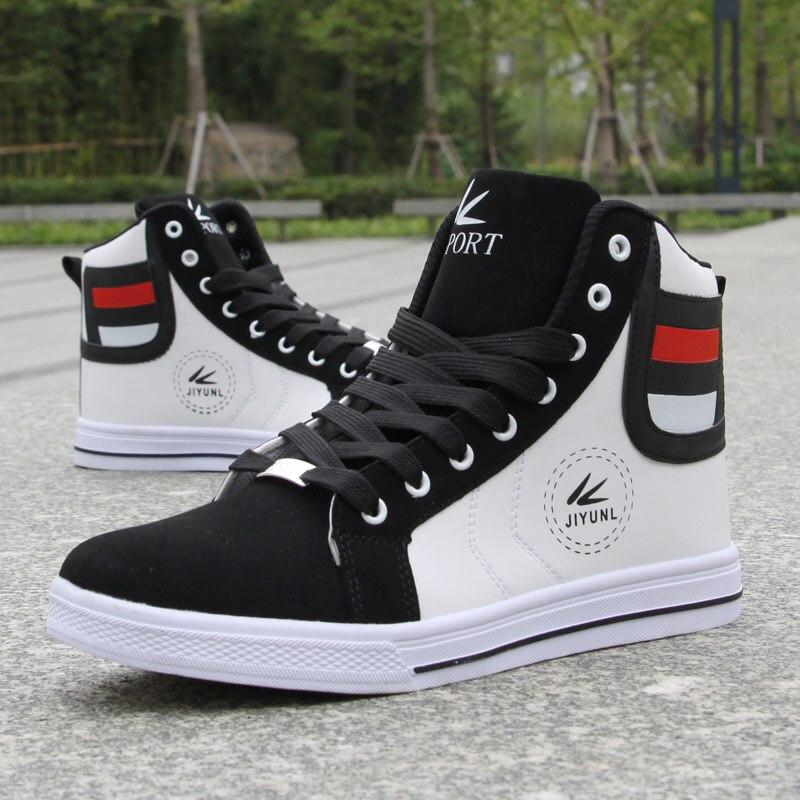 Image 5 - Fashion Men Leather Boots Winter Warm Cotton Ankle Boots Hip Hop Casual Men Shoes Autumn High Top Shoes Man Sneakers Big Size 45Basic Boots   -