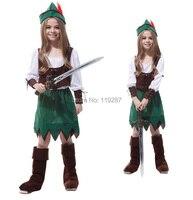 O envio gratuito de Meninas Peter Princesa Trajes de Halloween Dos Miúdos Pouco Zorro Cosplay Trajes de Desempenho das crianças roupas