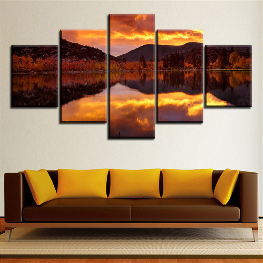 5 Pieces Refleksi Awan Langit Senja Senja Lukisan Minyak Kanvas