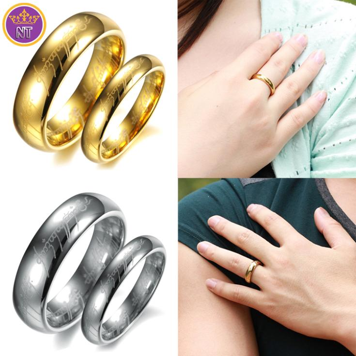 aliexpresscom buy nt hot dubai gold mens jewelry tungsten lord of the rings ring wowmen lovers wedding rings for couples aliancas de ouro 18k from - Lotr Wedding Ring