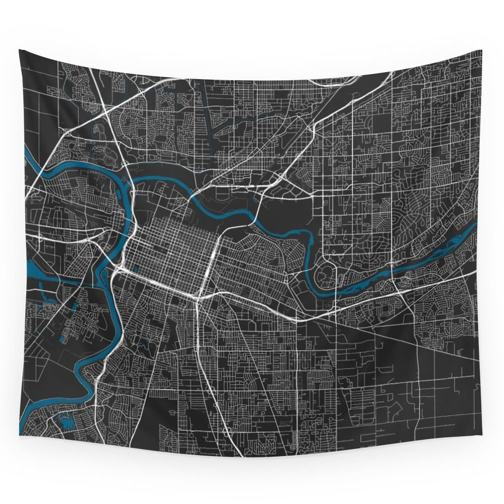 Sacramento City Map Black Colour Wall Tapestry Wedding Party Gift Bedspread Beach Towel  ...