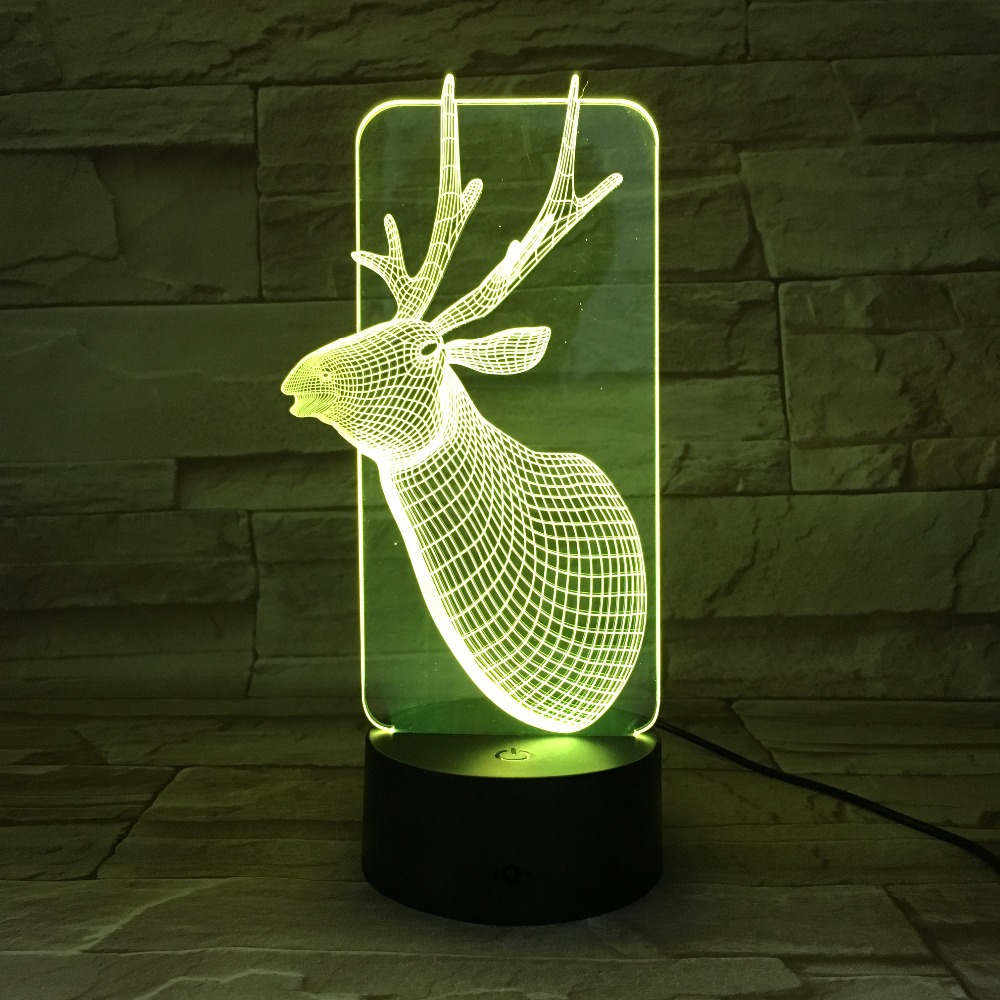 GX690 Cute Christmas Deer USB 3D Lamp 7 Colors Touch Bedroom Lights Atmosphere Decoration Light Family Father Kids Gifts ...