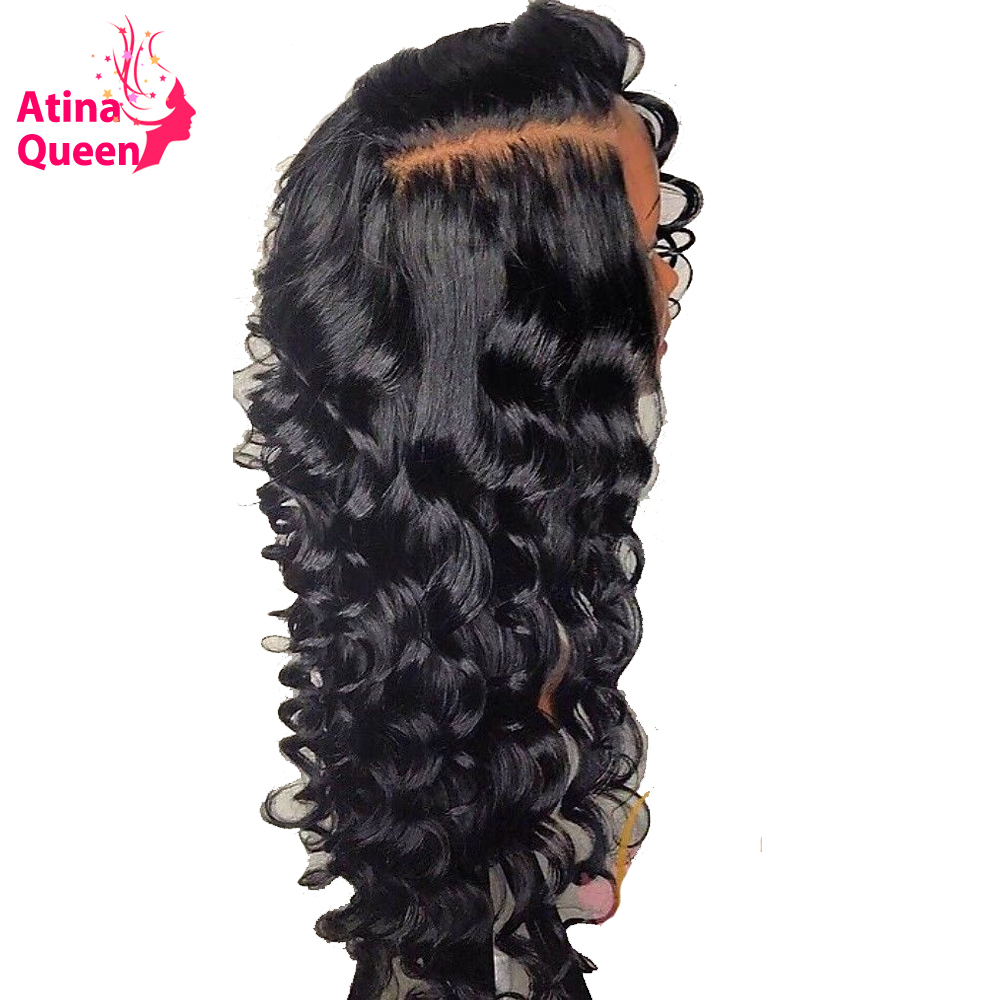 180% Density Brazilian Deep Wave 13x6 Lace Front Human Hair Wigs With Baby Hair Pre Plucked Wig For Women Remy Black Atina Queen