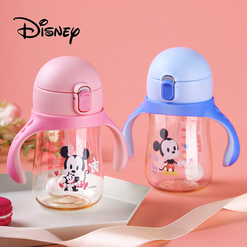 2019 Disney Baby Feeding Cup Mickey Mouse Child Sippy Shatter-resistant Baby Learning Drinking Cup Water Cup Straw Bottle Gifts