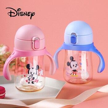 бутылочка для кормления детей   2019 Disney Детская кружка для кормления Микки Маус ребенок Sippy ударопрочный ребенок обучение питьевой чашка для воды соломы бутылки подарки
