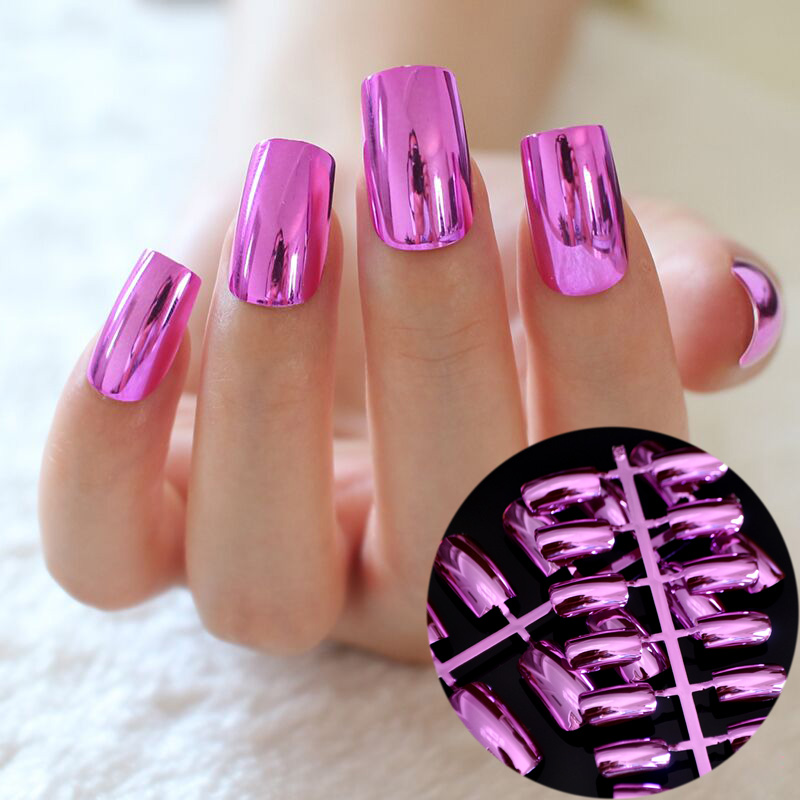 Long Square Press On Nails Rose Red Mirror Metal False Nails ...