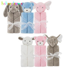 76*76CM/Newborn Receiving Swaddle Wrap Animal Bathrobe Towel Cartoon Cute Soft Fleece Warm Blankets For Kids Baby Quilt BC1005