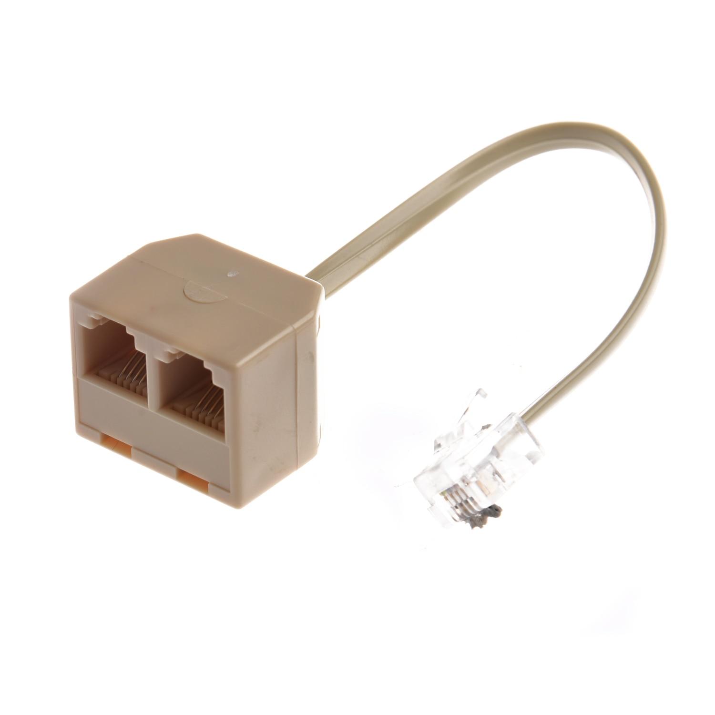 Telephone RJ11 Male Line to Double RJ11 Female Jack Filter Splitter Adapter