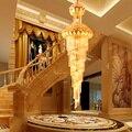 Современные хрустальные люстры с подсветкой  американский золотой цветок лотоса  Длинные люстры  светильники  приспособление для отеля  до...