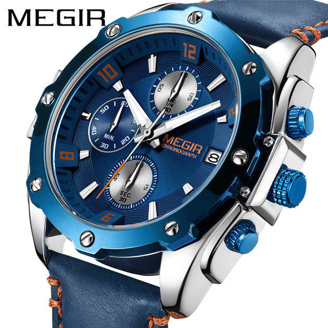 a73abe941b0 MEGIR Chronograph Men Watch Relogio Masculino Blue Leather Business Quartz  Watch Clock Men Creative Military Wrist