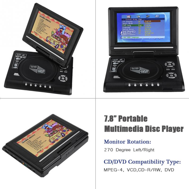 7.8inch Portable DVD Player Swivel Screen Rechargeable Multimedia Player With FM Radio Digital TV Car Charger Gamepad
