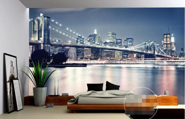 Room Wallpaper Custom Mural Non Woven Wall Sticker New York Bridge Modern Fashion Painting