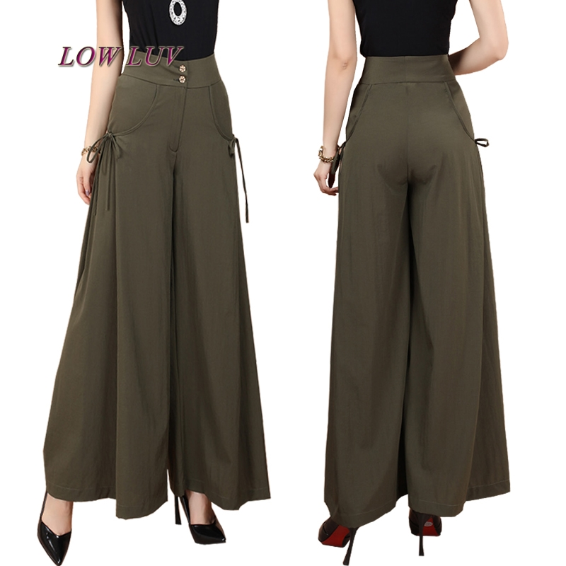 New Plus Size Summer Fashion Women Solid Wide Leg Loose Cotton Dress Pants Female Casual Skirt Trousers Capris Culottes Tb299