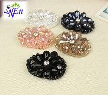 5 couleurs 1 paire verre à la main perles de chaussures clip décoration avec cristal N668