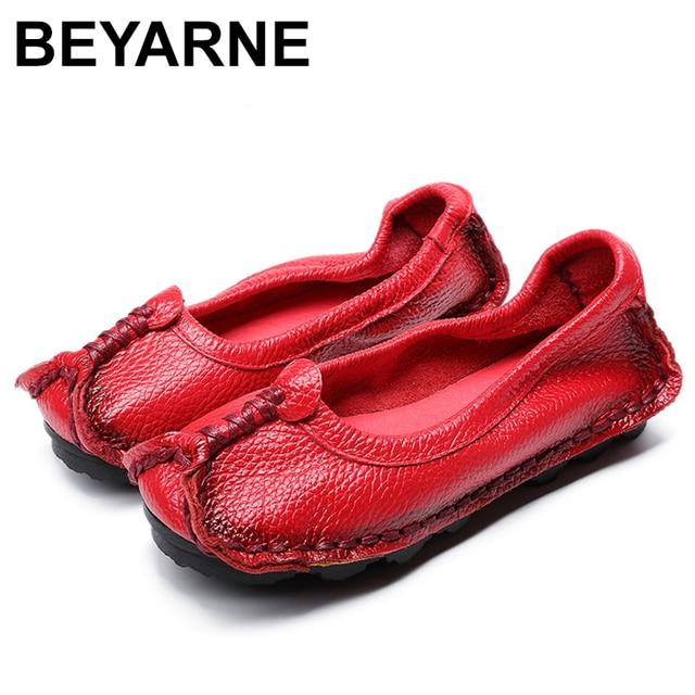 BEYARNE 2019 נשים נעלי עור אמיתיות נשים צבעים מעורבים נעליים יומיומיות בעבודת יד רך נוח נעלי נשים FlatsE003