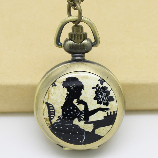 Винтаж Lady играть в шахматы карманные часы Цепочки и ожерелья - Цвет: Bronze