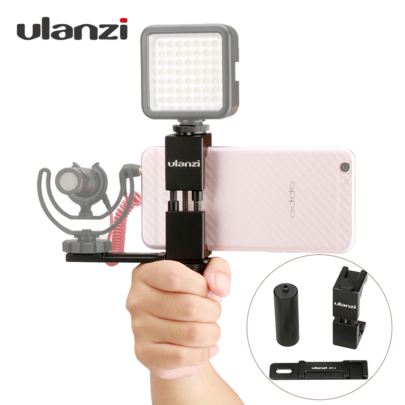 Ulanzi Smartphone Filmmaker Video Rig, Metal Phone Tripod Mount with Hot Shoe with Hand Grip Holder Microphone Plate for iPhone