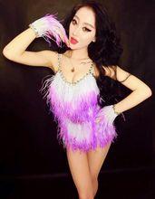Feather rhinestone bodysuits Stage Wear One Piece women sexy queen Ostrich gloves female singer DJ DS dance costume dress