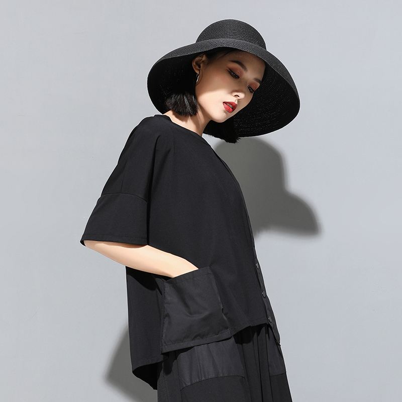 [EAM] 2020 New Spring Summer Round Neck Half Sleeve Black Button Split Joint Loose Big Size T-shirt Women Fashion Tide JX500 3