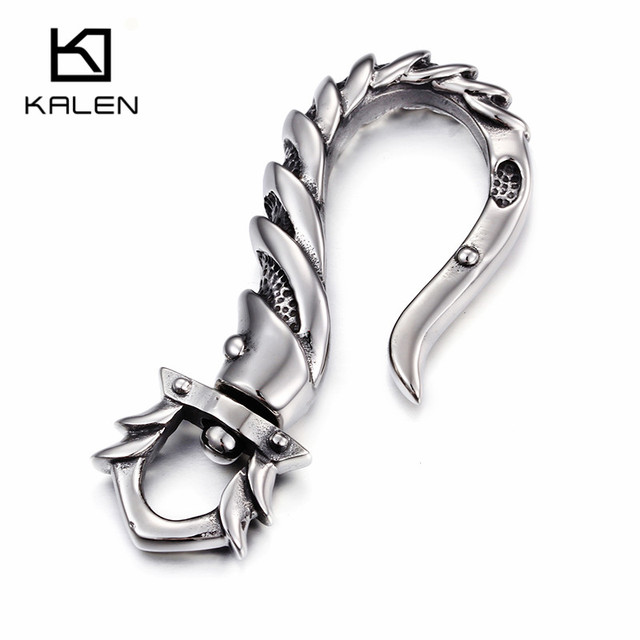 Kalen 2017 New Cool Key Chains 316 Stainless Steel Fish Hook Pattern Key Chain China Fashion Rock Accessory Jewelry Gift For Men