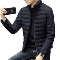 Winter Thick Warm Short Slim Jackets For Men Stand Collar Long Sleeve Male Zipper Coat Outwear
