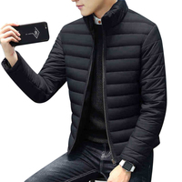 Winter Thick Warm Short Slim Jackets For Men Stand Collar Long Sleeve Male Zipper Coat Outwear