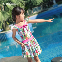 AONIHUA Floral Sweet Girl One-piece Suits Bow tie String Romatic Angle Swimsuit Girls With Hat Batching Suit 2-12 Years old
