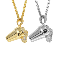 Hip Hop 24 Curb Cuban Chain Mens Iced Out Lab Cubic Zirconia Gold Tone Drank Necklace