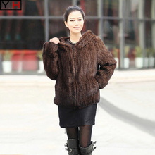 Genuine Knit Mink Fur Jacket With  Hood Mink Fur Coat. Warm Winter Fur Outerwear 100%natural real mink fur coat