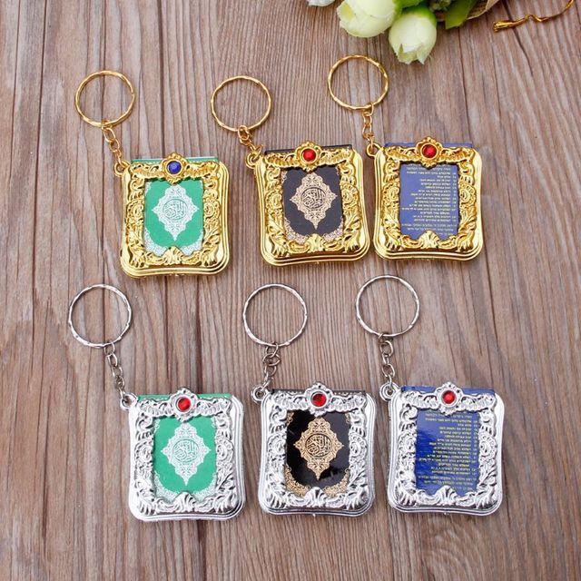 Mini ark alcorão livro de papel real pode ler árabe o alcorão chaveiro muçulmano jóias