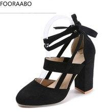 hot deal buy fooraabo 2019 women pumps fashion gladiator heels shoes woman quality lace up high heels hollow women heels black pink