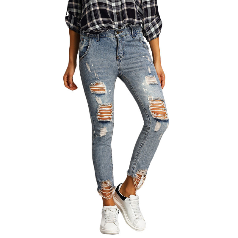 New 2017 Boyfriend Hole Ripped Jeans Women Pencil Pants Cool Denim Vintage Skinny Jeans Ladies Mid Waist Casual Trousers new women girls casual vintage wash denim overall suspender jean trousers pants boyfriend style denim shorts frayed ripped hole