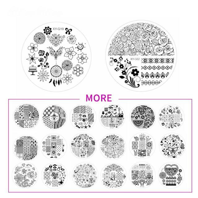 2018 New Stamping Nail Art Template Plate Image Flower Lace 7CM