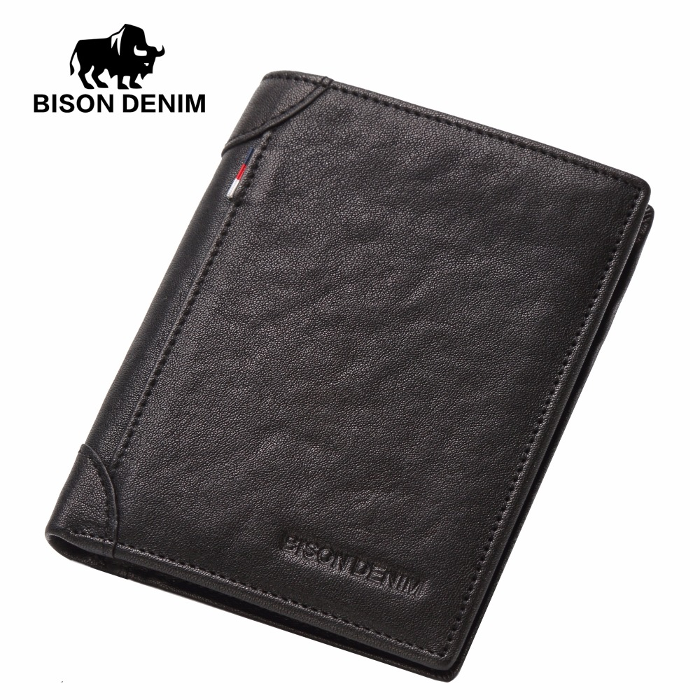 BISON DENIM Cowhide Genuine Leather Wallet Men ID Money Card Holder Purse Slim Brand Male Small Short Wallets For Winter N4456 aim mens small wallet 100% genuine leather men purse male compact slim short wallets for men cowhide card holder carteira a292